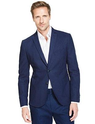 Linen Blend Slim Fit 2 Button Jacket, NAVY, catlanding