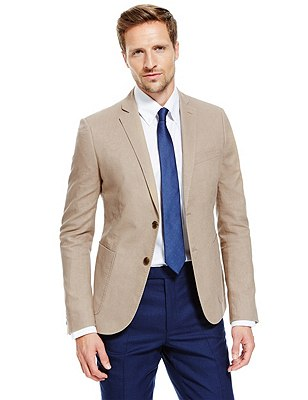 Linen Blend Slim Fit 2 Button Jacket, SAND, catlanding