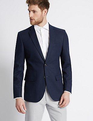 Linen Rich Regular Fit Jacket, MIDNIGHT NAVY, catlanding