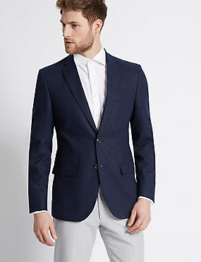 Linen Rich Regular Fit Jacket, MIDNIGHT NAVY, catlanding
