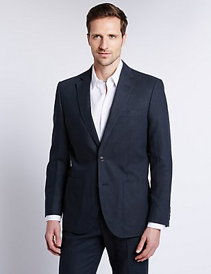 Linen Blend 2 Button Jacket, NAVY, catlanding