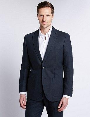 Linen Blend 2 Button Jacket, NAVY, catlanding
