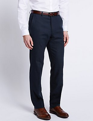 Big & Tall Linen Blend Flat Front Trousers, NAVY, catlanding