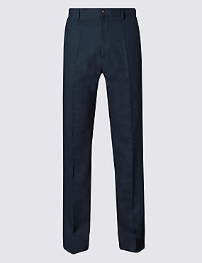 Big & Tall Linen Blend Flat Front Trousers