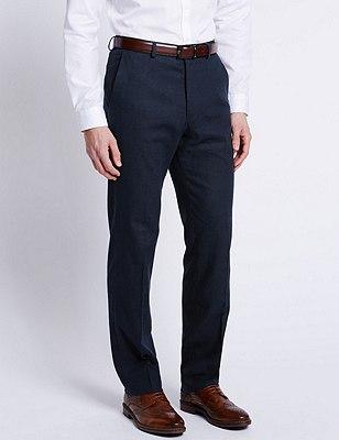 Linen Blend Flat Front Trousers, NAVY, catlanding