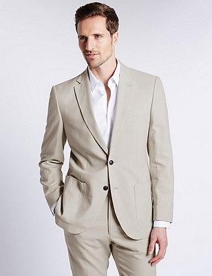 Linen Blend 2 Button Jacket, NEUTRAL, catlanding