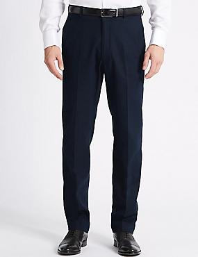 Big & Tall Linen Blend Flat Front Trousers, NAVY, catlanding
