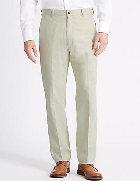 Big & Tall Linen Blend Flat Front Trousers, NEUTRAL, catlanding