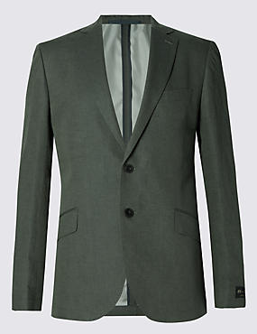 Linen Blend Tailored Fit 2 Button Jacket with Buttonsafe™