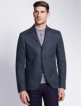 Pure Linen Tailored Fit 3 Button Jacket