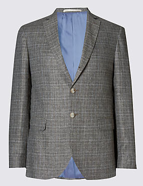 Pure Linen Tailored Fit Check 2 Button Jacket