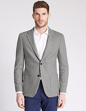 Wool Blend Tailored Fit Two Tone 2 Button Jacket with Buttonsafe™, GREY, catlanding
