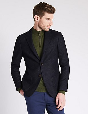 Wool Blend Tailored Fit Two Tone 2 Button Jacket, NAVY, catlanding