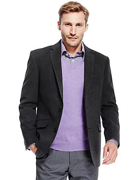 Wool Blend 2 Button Jacket with Cashmere