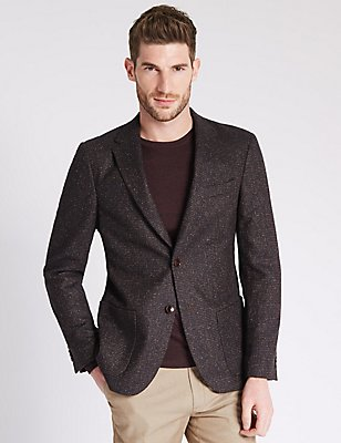 Tailored Fit 2 Button Jacket Jacket, BROWN MIX, catlanding