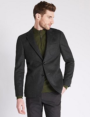 Single Breasted Jacket with Cashmere, CHARCOAL, catlanding