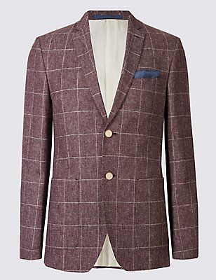 Linen Blend Tailored Fit Jacket, RASPBERRY, catlanding