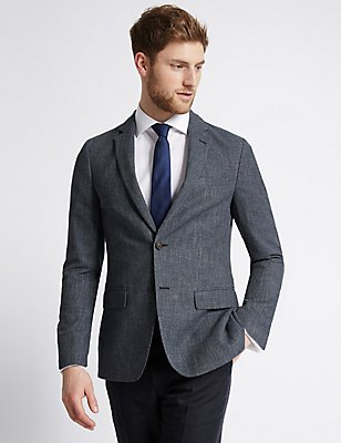 Textured 2 Button Jacket, NAVY, catlanding