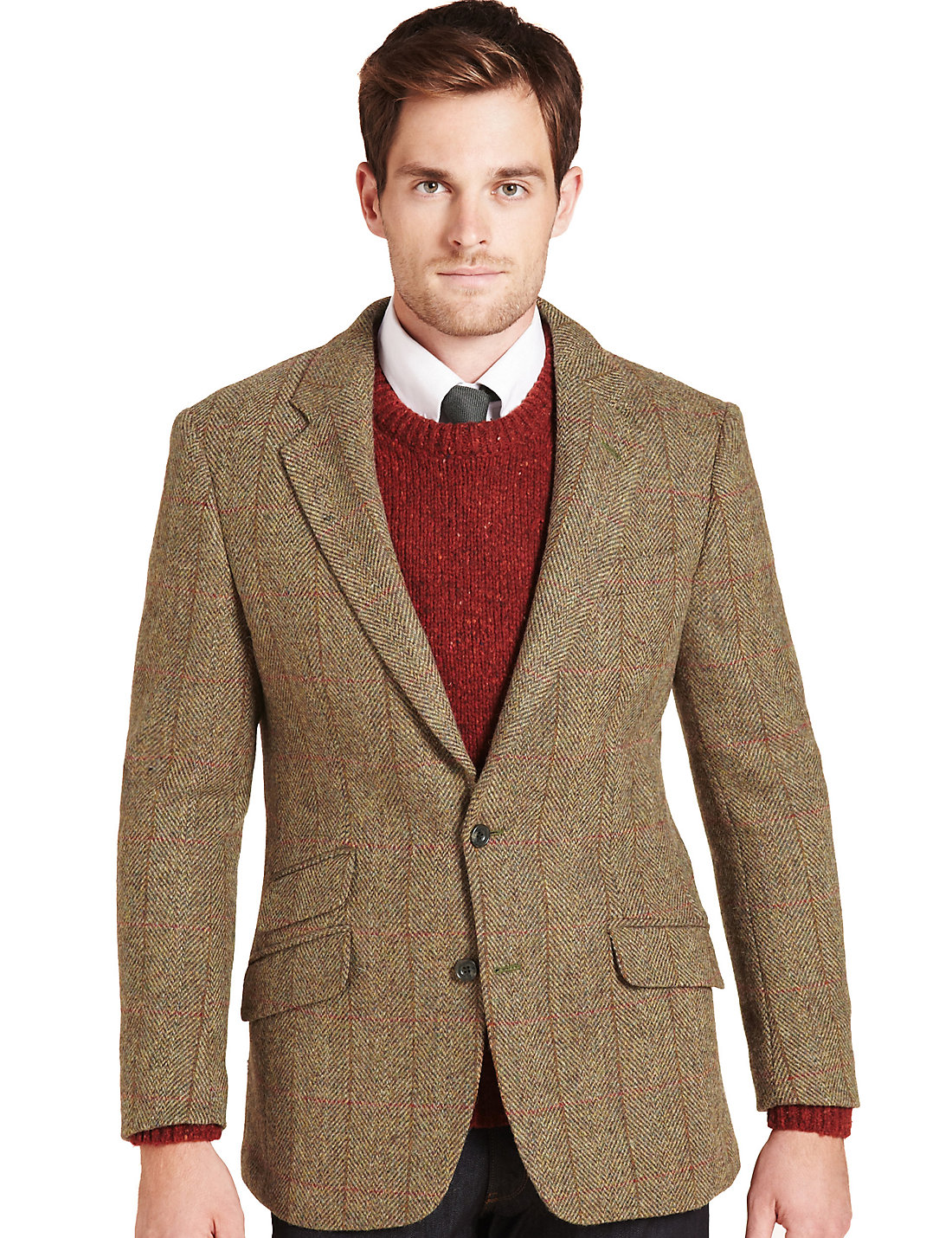 Big & Tall Luxury Pure Wool 2 Button Harris Tweed Checked Jacket | M&