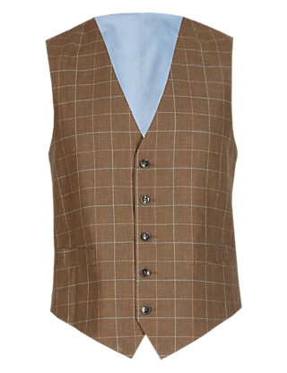 Checked Waistcoat with Linen Clothing