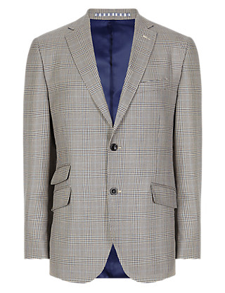 Pure New Wool Prince of Wales 2 Button Check Jacket Clothing