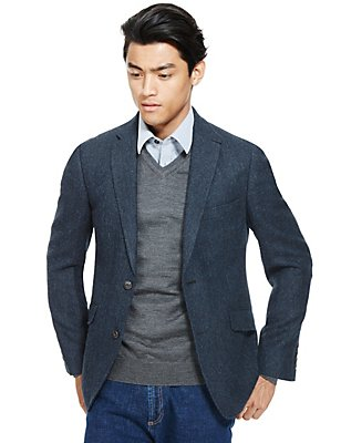 Big & Tall Tailored Fit 2 Button Herringbone Jacket, BRIGHT BLUE, catlanding