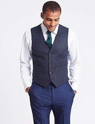 Pure New Wool Tailored Fit Herringbone 5 Button Waistcoat, BRIGHT BLUE, catlanding
