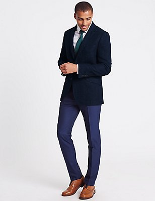 Pure New Wool Herringbone 2 Button Jacket, BRIGHT BLUE, catlanding