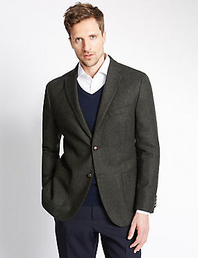 Pure New Wool 2 Button Herringbone Jacket, GREEN, catlanding