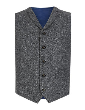 Pure Wool 5 Button Charcoal Herringbone Waistcoat