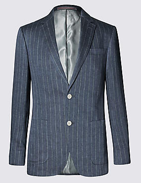 Navy Pure Linen Striped Tailored Fit Jacket, NAVY, catlanding
