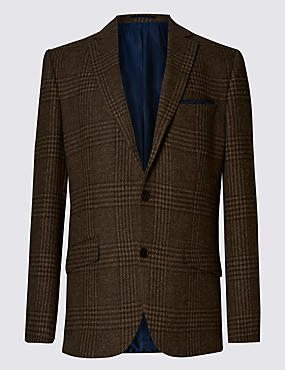Pure New Wool Herringbone Check 2 Button Jacket