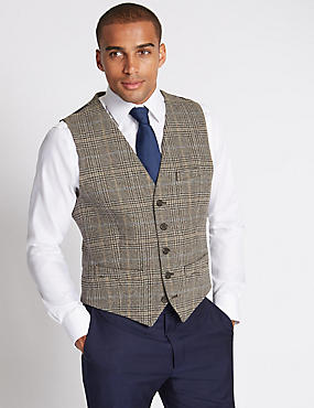 Pure Wool Checked Waistcoat with Buttonsafe™l, GREY MIX, catlanding