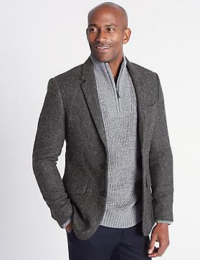 Pure Wool Barleycorn Jacket, CHARCOAL, catlanding