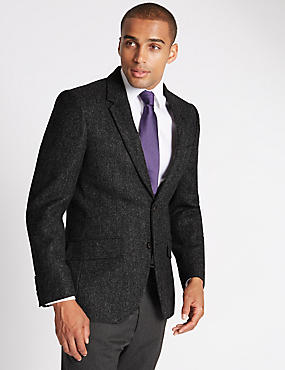 Big & Tall Pure Wool Tailored Fit Jacket, CHARCOAL, catlanding