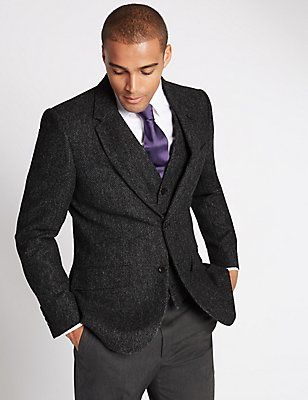 Single Breasted Barleycorn Jacket, CHARCOAL, catlanding