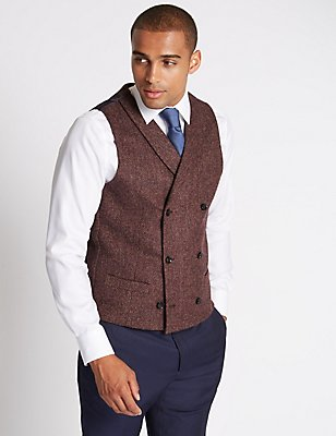 Pure Wool Tailored Fit Waistcoat, CHESTNUT, catlanding