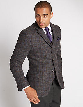 Buttonsafe™ Regular Fit Large Check 2 Button Jacket, GREY MIX, catlanding