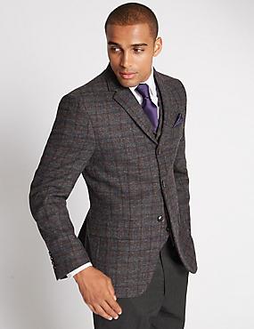 Regular Fit Large Check 2 Button Jacket, GREY MIX, catlanding
