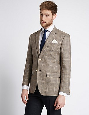 Checked Regular Fit Jacket, NEUTRAL, catlanding