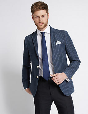 Navy Pure Linen Striped Tailored Fit Jacket, DARK BLUE, catlanding