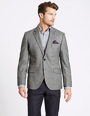 Pure Wool Tailored Fit Herringbone Jacket, GREY MIX, catlanding