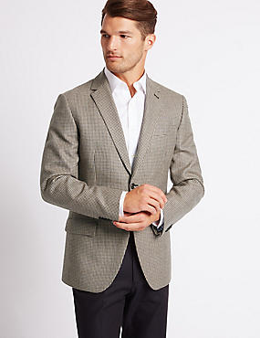 Pure Wool Checked Jacket, BROWN MIX, catlanding