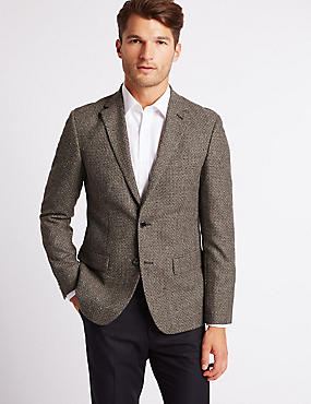 Wool Rich Basket Weave Jacket, BROWN, catlanding