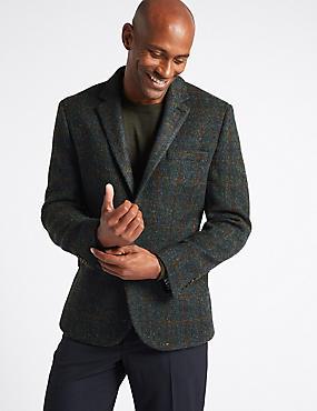 Harris Tweed Pure Wool 2 Button Jacket, DARK BLUE, catlanding