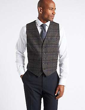 Wool Rich Waistcoat, CHARCOAL MIX, catlanding