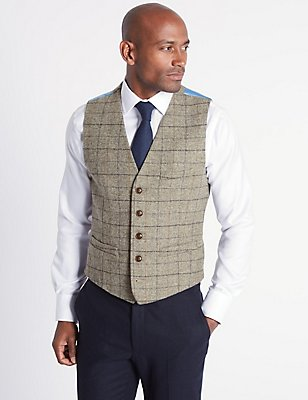 Pure Wool Checked Tailored Fit Waistcoat, NEUTRAL, catlanding