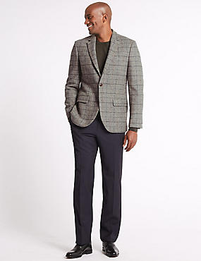 Pure Wool Checked Tailored Fit Jacket, NEUTRAL, catlanding