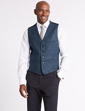 Pure Wool Textured Tailored Fit Waistcoat, DARK AIRFORCE, catlanding