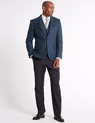 Pure Wool Textured Tailored Fit Jacket, DARK AIRFORCE, catlanding